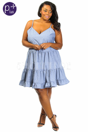 Plus Size Peasant Ruffle Layered Denim Dress