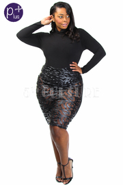 Plus Size Solid & Faux Leather Design Midi Dress