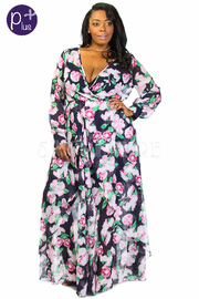 Plus Size Spring Sheer Floral Maxi Dress