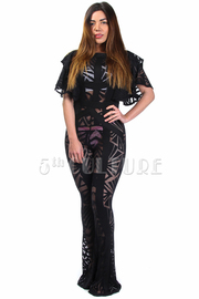 Geo Abstract Ruffle See Through Sexy Jumpsuit