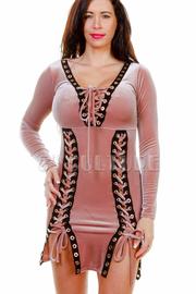 Tie Up Holiday Velvet Mini Dress