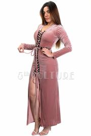 Criss Cross Tie Up Maxi Velvet Slit Dress