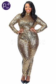 Plus Size Sequin Design Glam Mesh Jumpsuit