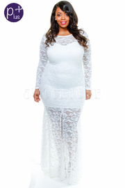 Plus Size Long Sleeved All Over Lacey Maxi Gown