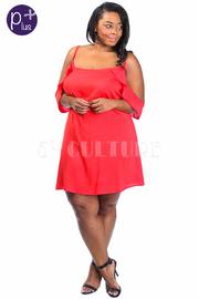 Plus Size Cold Shoulder Ruffle Tunic Dress