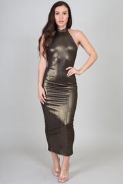 High Neck Halter Metallic Midi Tube Dress