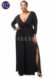 Plus Size Twist Waist Slit Flared Jumpsuit