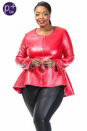 Plus Size Quilted Long Sleeve Peplum Top