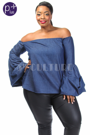Plus Size Off Shoulder Chambray Bell Cuff Top