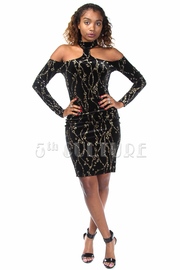Open Shoulder Glittery Design Unique Velvet Midi Dress