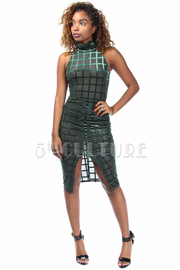 Slit Front Grid Holiday Velvet Tube Dress