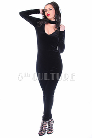 V-neck Choker Velvet Fit Jumpsuit