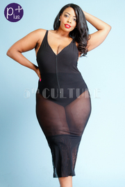 Plus Size Sexy In Mesh Zip Down Bodysuit Maxi Dress