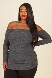 Plus Size Off Shoulder Ribbed Long Sleeved Top