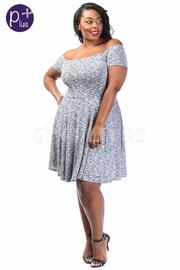 Plus Size Off Shoulder Marled Flowy Mini Dress