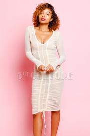 See Through Mesh Ruched Midi Dress