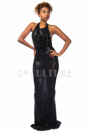 Shimmer Nights Halter Maxi Gown