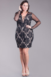 Plus Size Mesh Sleeved Laced Bodycon Dress