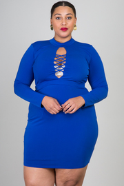 Plus Size Long Sleeved Solid Cross Straps Dress