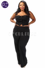 Plus Size Sailor Button Down Strapless Peplum Pants Set