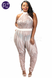 Plus Size Sexy In Sequin Mesh Halter Jumpsuit