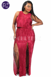 Plus Size Double Slit Silky Cocktail Maxi Dress