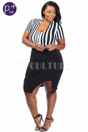 Plus Size Striped & Solid Sexy Slit Mini Dress