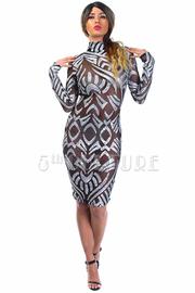 High Neck Sexy Sequin Design Mesh Bodycon Dress