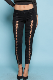 Criss Cross Straps Denim Skinny Jeans