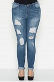 Plus Size Distressed Skinny Denim 5-Pocket Jeans
