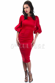 Solid Trumpet Sleeved Midi Dress