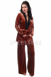 Casual 2-Piece Pocket Velvet Pants Set
