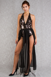 Deep V Sequin Halter Bodysuit Fringe Maxi Skirt Set