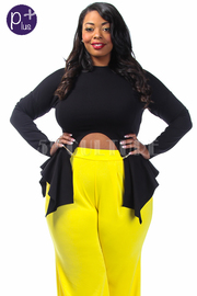 Plus Size Zipper Peplum U Cut Detail Top