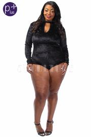 Plus Size Keyhole Velvet Long Sleeved Bodysuit