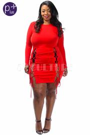 Plus Size Cross Straps Solid Tube Dress