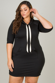 Plus Size Hooded Pouch Mini Dress