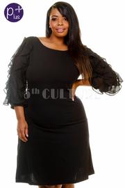 Plus Size Ruffle Sheer 3/4 Sleeved Mini Dress