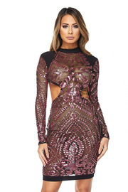 Sexy Cutout Sequin Club Mini Dress