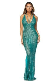 V-neck Sequin Cocktail Goddess Gown