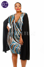 Plus Size V-neck Sequin Lined Goddess Cape Sleeved Dress