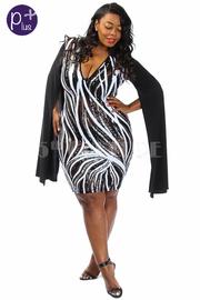 Plus Size V-neck Sequin Lined Goddess Cape Sleeved Dress