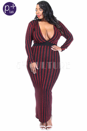 Plus Size Glittery Striped Deep V Maxi Cocktail Dress