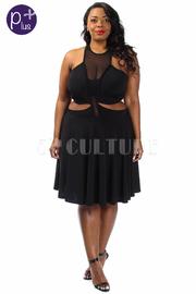 Plus Size Cutout Waist Mesh Flared Dress