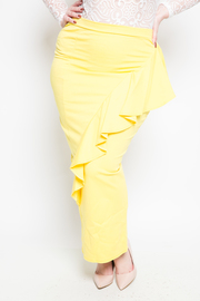 Plus Size Ruffle Side Sunshine Maxi Skirt