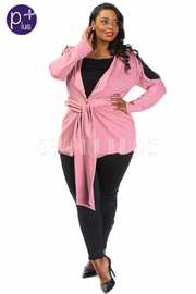 Plus Size Slit Sleeved Casual Tie Waist Jacket