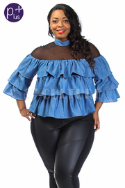 Plus Size Mesh Trim Ruffle Tiered Denim Top