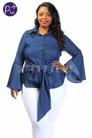 Plus Size Trumpet Sleeved Button Down Chambray Tie Shirt