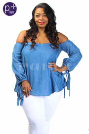 Plus Size Sweetheart Off Shoulder Chambray Long Sleeved Top