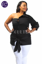 Plus Size One Shoulder Button Down Shirt